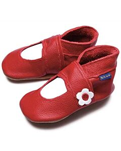 Inch Blue: Soft Sole Leather Shoes - Mary Jane Red - Large (12-18 months)