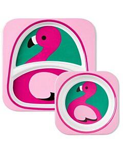 Skip Hop: Zoo Melamine Plate and Bowl Set - Flamingo - 15% OFF!!