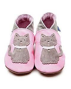 Inch Blue: Soft Sole Leather Shoes - Meeow Baby Pink/Grey - Child Small (2-3 years)