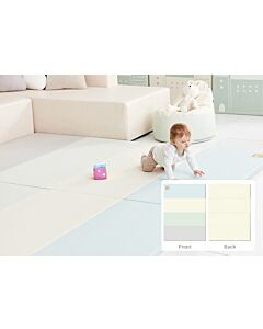 ALZiP® Mat Baby Foldable Silion Playmat   Size SG (240*140*4cm) - Modern Blue