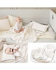GGUMBI: 3 in 1 Transformation Bed - World Star (Grey) + 3 Layers Muslin Bedding Set (White) - 19% OFF!!