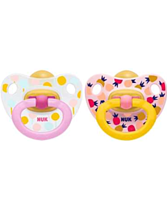 NUK: Orthodontic Latex Soother 0-6M - 2pcs (Pacifier) - Pink - 15% OFF!!