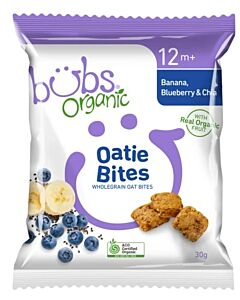 Bubs Organic Oatie Bites Banana, Blueberry & Chia 30gm (12+ Months)