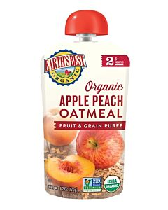Earth's Best: Organic Apple Peach Oatmeal Fruit & Grain Puree (Stage 2 - From 6 Months) 120g - 10% OFF!