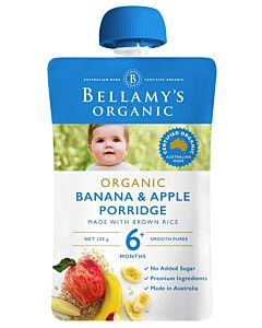 Bellamy's: Organic Banana & Apple Porridge 120g (Ready to serve)