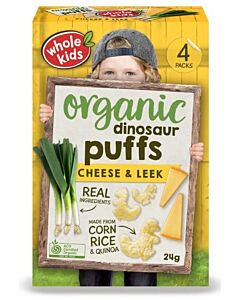 Whole Kids: Organic Dinosaur Puffs - Cheese & Leek 24gm [4 packs] (From 12+ Months) - 10% OFF!!