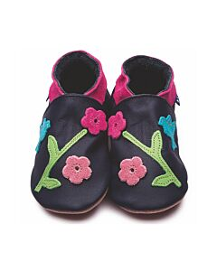Inch Blue: Soft Sole Leather Shoes - Oriental Bird Navy - Child Small (2-3 years)