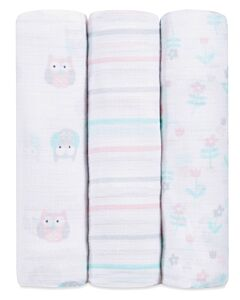 Aden+Anais Ideal Baby Muslin Swaddling - Owls (3 pack) - 30% OFF!!