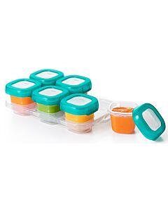 OXO TOT: Baby Blocks Freezer Storage Container 6pcs (2oz) TEAL - 26% OFF!