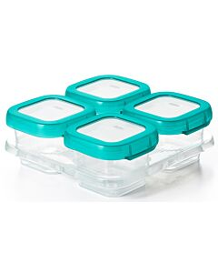 OXO TOT: Baby Blocks Freezer Storage Container 4pcs (6oz) TEAL - 26% OFF!