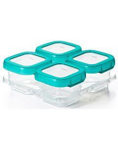 OXO TOT: Baby Blocks Freezer Storage Container 4pcs (4oz) TEAL - 26% OFF!