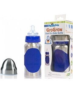 Pacific Baby: GroGrow Steel Eco Baby Bottle, 10oz (Silver Blue) - 27% OFF!!
