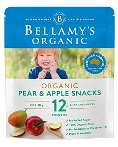 Bellamy's Organic Pear & Apple Snacks 20g