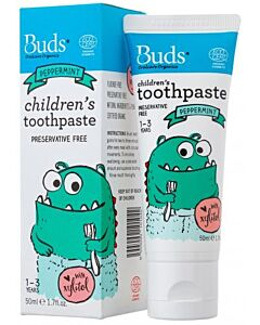 Buds Oralcare Organics: Children's Toothpaste Peppermint With Xylitol - 50ml (1 - 3 Years) - 15% OFF!!