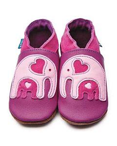Inch Blue: Soft Sole Leather Shoes - Ellie & Baby Grape - Medium (6-12 months)
