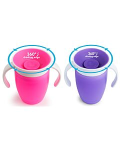 Munchkin: Miracle® 360° Trainer Cup (2 pack) 7oz - Pink/Purple - 20% OFF!!