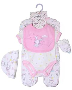 Earth Bebe: 5 in 1 Multi Set - Pink/White Rabbit (0 - 3 Months)