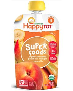 Happy Baby Organic Bananas, Peaches & Mangos + Super Chia 120g (Stage 4) - 10% OFF!!
