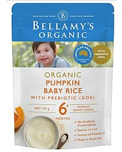 Bellamy's Organic Pumpkin Baby Rice with Prebiotic (GOS) 125g - 18% OFF!!