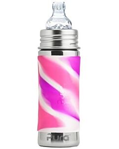 Pura Kiki: Stainless Steel Sippy Cup Bottle With Sleeve 11oz / 325ml (Pink Swirl) - 20% OFF!!