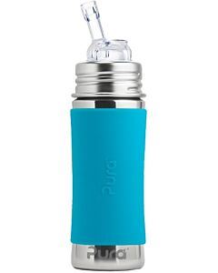 Pura Kiki: Straw Cup 11oz/325ml With Sleeve - Aqua - 20% OFF!!
