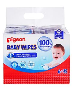Pigeon: Pure Water Baby Wipes 80's x 6 pack