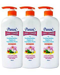 Pureen: Liquid Cleanser (for Feeding bottles, Nipples & Vegetables) (Orange) 750ml x 3 BOTTLES - 13% OFF!! (only RM24.89 each!)