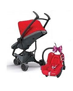 Quinny Zapp Flex Stroller | Red on Graphite - 30% OFF!! + FREE!! Maxi Cosi Cabriofix Travel System