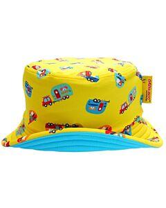 Cheekaaboo Reversible Sun Hat - Light Blue / Camper Van - FS (Dia 18cm)
