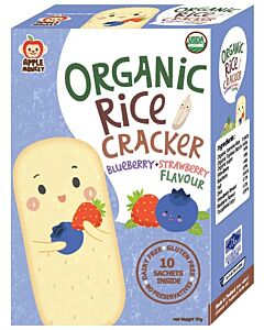Apple Monkey: Organic Rice Cracker - Blueberry & Strawberry Flavour (10 sachets inside) 30g - 10% OFF!!