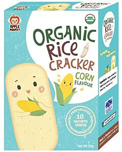 Apple Monkey: Organic Rice Cracker - Corn Flavour (10 sachets inside) 30g - 10% OFF!!