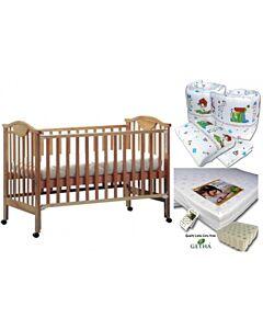 Seni Daya: 4-in-1 Convertible Cot (SDB860) (Choose white/brown) & LATEX Mattress & 7pcs Crib Set Package - 38% OFF!!