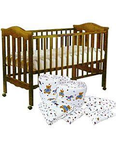 Seni Daya: 4 in 1 Convertible Baby Cot (865) (Choose white/brown) & LATEX Mattress & 7pcs Crib Set Package  - 40% OFF!!