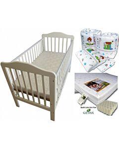 Seni Daya: 4-in-1 Convertible Cot (893) (Choose white/brown) - LATEX Mattress & 7pcs Crib Set Package - 38% OFF!!
