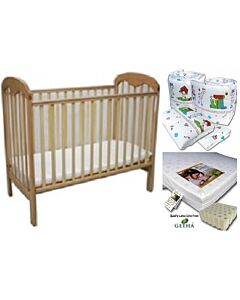 Seni Daya: Baby Cot Oak (823) & LATEX Mattress & 7pcs Crib Set Package - 43% OFF!!