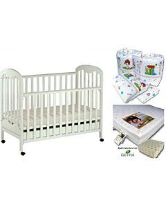 Seni Daya: Baby Cot White (823) & LATEX Mattress & 7pcs Crib Set Package - 43% OFF!!