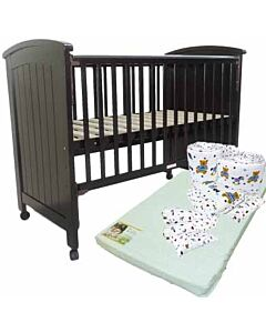Seni Daya: Isabella - 4-in-1 Convertible Baby Cot (Choose white / walnut) & LATEX Mattress & 7pcs Crib Set Package - 38% OFF!!