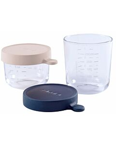 Beaba: Set Of 2 Glass Containers (150ml/5oz + 250ml/8oz) - Pink / Midnight - 10% OFF!!