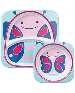 Skip Hop: Zoo Melamine Plate and Bowl Set - Butterfly - 15% OFF!!