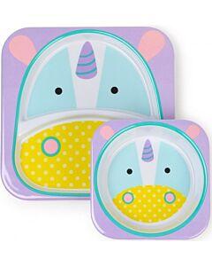 Skip Hop: Zoo Melamine Plate and Bowl Set - Unicorn - 15% OFF!!