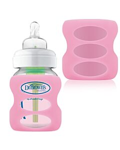 Dr. Brown's: 5oz/150ml PP Options Wide-Neck Glass Bottle Sleeve - Pink - 20% OFF!!