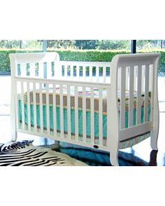Babyhood: Classic Sleigh Cot + My First Breathe Eze Innerspring Mattress + 5pcs Bedding Set - [White] - 5% OFF!!