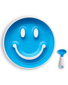 Munchkin: Smile 'N Scoop Suction Plate & Training Spoon (9+ Months) - Blue - 22% OFF!!