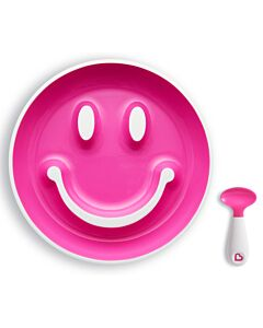 Munchkin: Smile 'N Scoop Suction Plate & Training Spoon (9+ Months) - Pink - 22% OFF!!