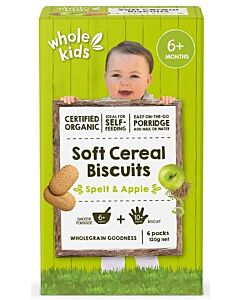 Whole Kids: Organic Soft Cereal Biscuits - Spelt & Apple 120gm [6 packs] (From 6+ Months) - 10% OFF!!