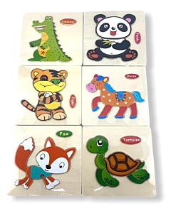 Funny Kid's: Solid Small Puzzle - Tortoise, Panda, Fox, Horse, Tiger & Dinosaur (Set B) - 10% OFF!!