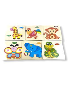 Funny Kid's: Solid Small Puzzle - Elephant, Snake, Butterfly, Cock, Monkey & Giraffe (Set C) - 10% OFF!!
