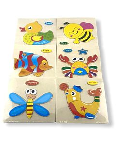 Funny Kid's: Solid Small Puzzle - Sea Lion. Crab, Fish, Dragonfly, Bee & Duck (Set D) - 10% OFF!!