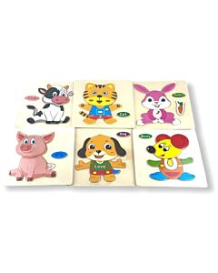 Funny Kid's: Solid Small Puzzle - Dog, Pig, Rabbit, Mouse, Cat & Cow (Set E) - 10% OFF!!