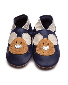 Inch Blue: Soft Sole Leather Shoes - Squeak Navy - Small (0-6 months)